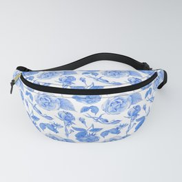 Blue Roses Watercolor Fanny Pack