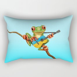 Tree Frog Playing Acoustic Guitar with Flag of Ukraine Rectangular Pillow