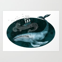 The whale and the ship Art Print