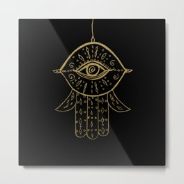 Hamsa Hand Gold on Black #1 #drawing #decor #art #society6 Metal Print