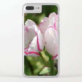 Tulip - White & Pink duo Clear iPhone Case