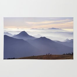 """""""Sunset at the mountains III"""" Rug"""