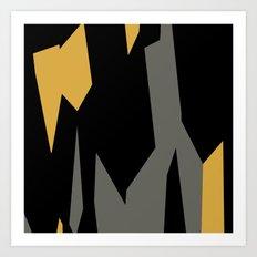 Black yellow and gray abstract Art Print