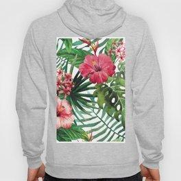 Tropical- Hibiscus and fern Hoody