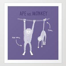Ape vs. Monkey Art Print