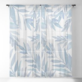 Muted Blue Palm Leaves Sheer Curtain
