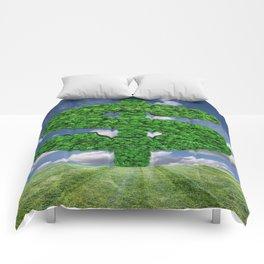 Dollar green grass symbol Comforters