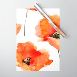 Modern hand painted orange watercolor poppies pattern Wrapping Paper