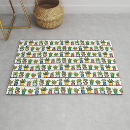 Houseplants Pattern - Colorful Potted Plants On Shelves Rug
