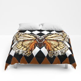BLACK HARLEQUIN PATTERNED BROWN-WHITE  BUTTERFLY Comforters