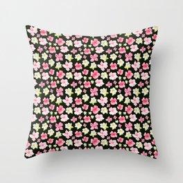 Blooms On Black Throw Pillow
