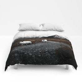 SHEEP - MOUNTAINS - SNOW - ROAD - PHOTOGRAPHY - FUNNY Comforters