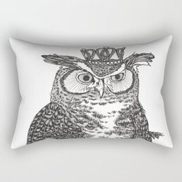 Great Horned Owl Wearing a Glittering Crown Rectangular Pillow