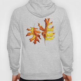 Ink And Watercolor Painted Dancing Autumn Leaves Hoody