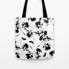 Hydranga pattern  - black and white Tote Bag