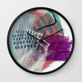 Pheonix: a bright abstractmixed media piece in pink, purple, blue, and white Wall Clock