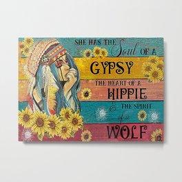 Flower Children Native Girl Spirit Of A Wolf Metal Print