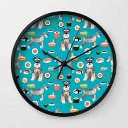 schnauzer sushi dog breed pet pattern dog mom Wall Clock