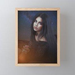 Woman and a Galaxy Framed Mini Art Print