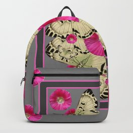 CHARCOAL GREY PINK FLOWERS YELLOW BUTTERFLIES Backpack