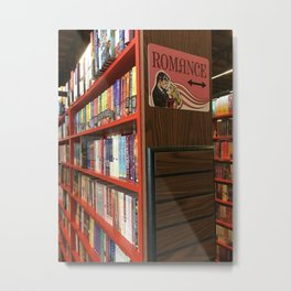 Romance aisle in a book shop Metal Print