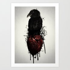 Raven and Heart Grenade Art Print