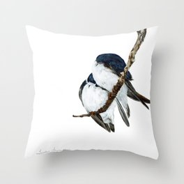 Togetherness - Tree Swallows by Teresa Thompson Throw Pillow