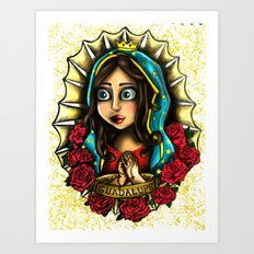 Lady Of Guadalupe (Virgen de Guadalupe) WHITE VERSION Art Print