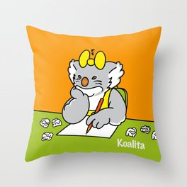 Koalita at school Throw Pillow