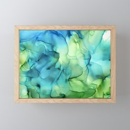 Blue Green Spring Marble Abstract Ink Painting Framed Mini Art Print