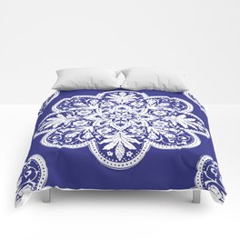 Floral Doily Pattern | Blue and White Comforters