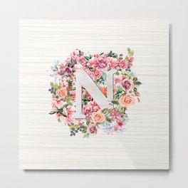 Initial Letter N Watercolor Flower Metal Print
