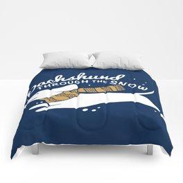 DACHSHUND THROUGH THE SNOW Comforters