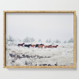 Winter Horse Herd Serving Tray