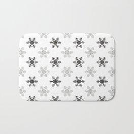 Snowflake Pattern | Black and White Bath Mat