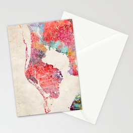 St. Petersburg map Florida painting 2 Stationery Cards