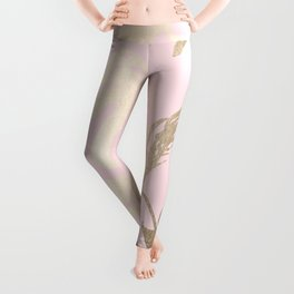 Simply Tropical Palm Leaves White Gold Sands on Flamingo Pink Leggings