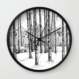 A fox in pine forest Wall Clock