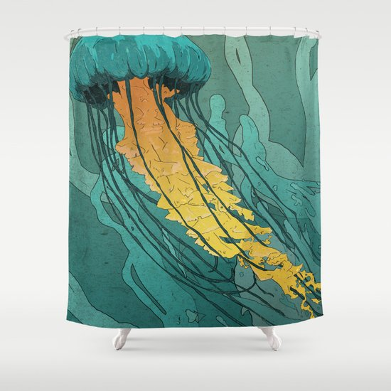 Green Jellyfish Shower Curtain