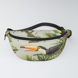 Toucans and Bromeliads (Canvas Background) Fanny Pack