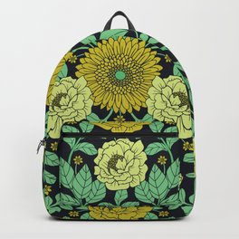 Seafoam Green, Chartreuse, Mustard Yellow & Navy Blue Floral Pattern Backpack
