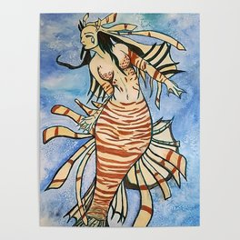 Lionfish Mermaid Poster
