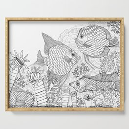 Black and white fish colour it yourself Serving Tray