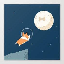 Fly to the moon _ navy blue version Canvas Print