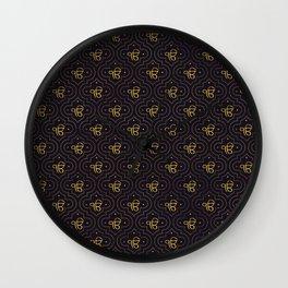 Gold Ek Onkar / Ik Onkar pattern on black Wall Clock