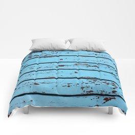 Blue Wooden Planks Comforters