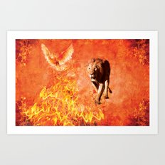 Lion Rescuing Cub from the Fire Art Print