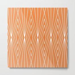 Simple Modern Diamond Lines Orange Metal Print