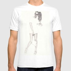 No.2 Fashion Illustration Series White MEDIUM Mens Fitted Tee