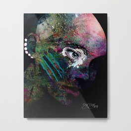 She Wears Her Scars Like a Warrior: a colorful texture abstract piece by KKingCreat Metal Print